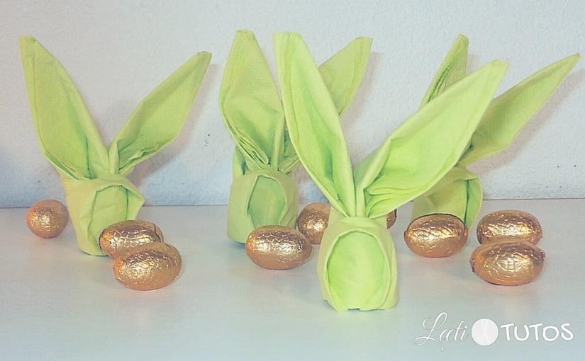 Faire un pliage de serviette lapin pour la table de Pâques
