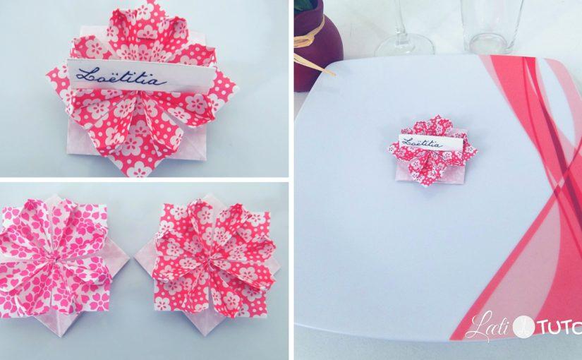 Origami : Fleur porte nom pour une jolie table
