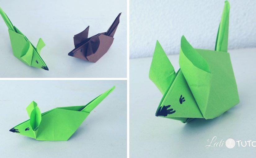 Une souris verte, qui courait dans l'herbe… Un origami souris pour mimer la comptine ? Par ici !